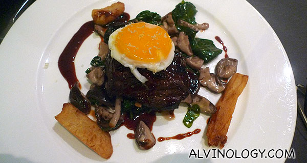 Beef Short Ribs (Sautéed spinach and mushroom in port wine sauce reduction topped with egg) - S$29