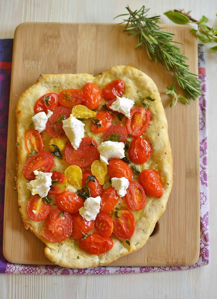 Herbed Tomato and Goat Cheese Flatbread via LittleFerraroKitchen.com