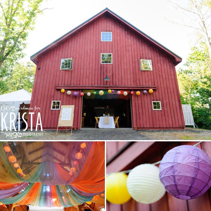 Artsy backyard wedding in Maine