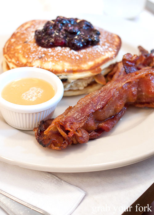 sugar cured bacon and pancakes at clinton street baking company new york nyc lower east side