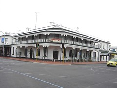 Fine example of an Australian hotel with verandas and wrought iron lace work. Mount Gambier Hotel South Australia.
