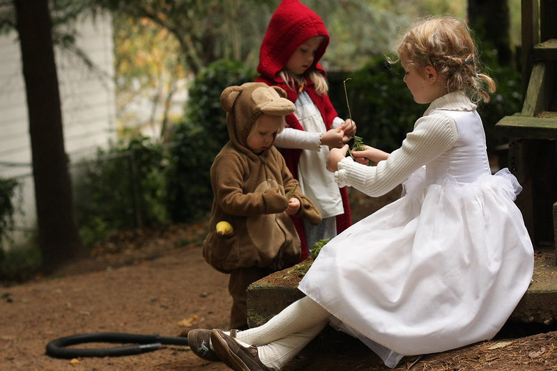 """My girls as Little Red Riding Hood, each with a """"wolf!"""" Handmade costume handed down. 10661699735_4730ca7ca3_c"""