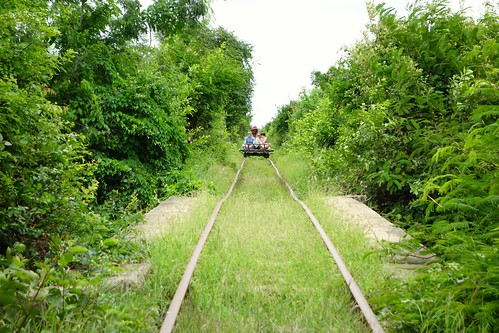 Approaching traffic! Bamboo Train in Battambang, Cambodia
