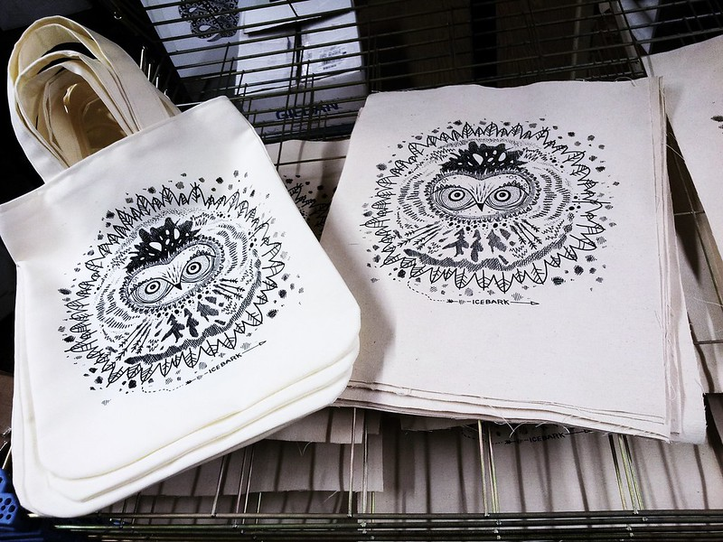 Owl totes printed and ready to be assembled