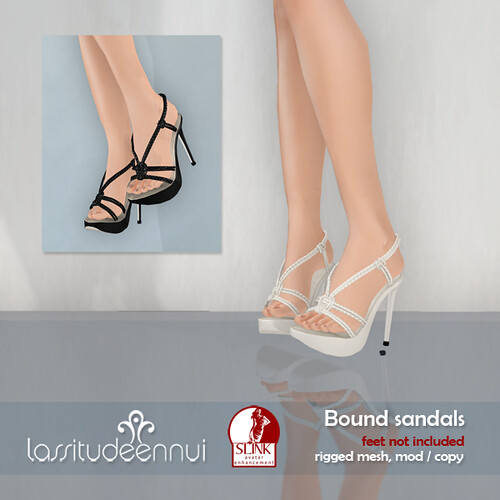 lassitude & ennui Bound sandals for SLink avatar enhancement