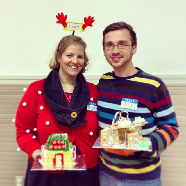 Matt and I at the gingerbread house making party. Thank you @cherronsue @uhlisuhzorz @stat1995 @katielicht @yenniec83 @courtneylarking it's been great to see my feed filled with your pictures.