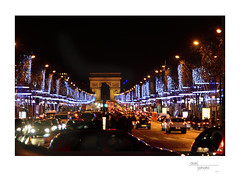 Champs Élysees Christmas Lights with Arc de Triomphe