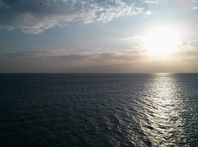 Sun setting over Mediterranean Sea