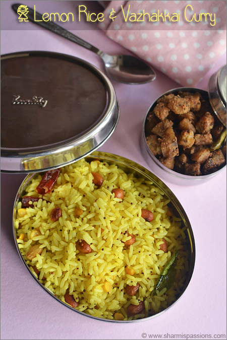 Lemon Rice Vazhakkai Curry Todays Lunch Box Is A Simple South Indian