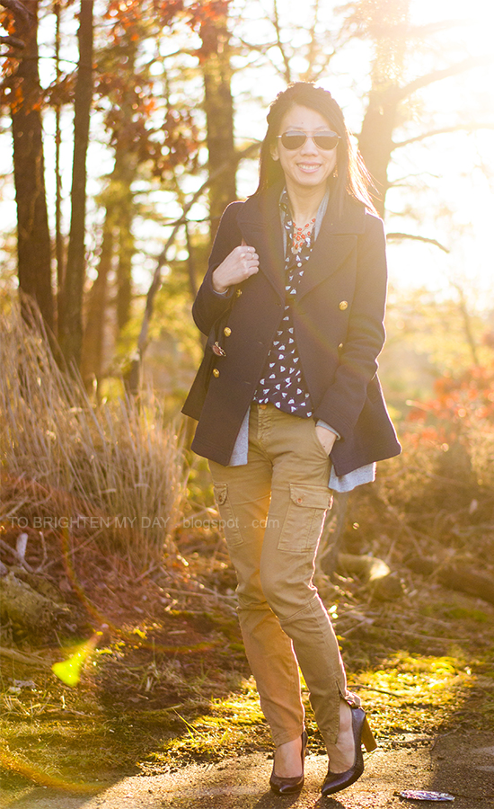 navy peacoat, gray open cardigan, printed blouse, cargo pants