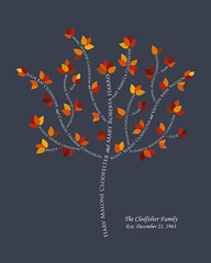 Family tree with names art blue gray white present day autumn leaves nicknames