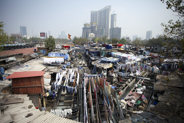 Dhobi Ghats and the modern city growing in Mumbai
