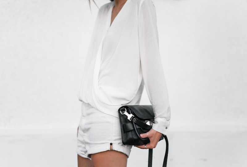 modern legacy fashion blog australia street style all white minimalist Proenza Schouler PS11 mini bag Witchery drape shirt One Teaspoon Lovers boyfriend denim shorts black suede ankle boots blogger edit (4 of 4)