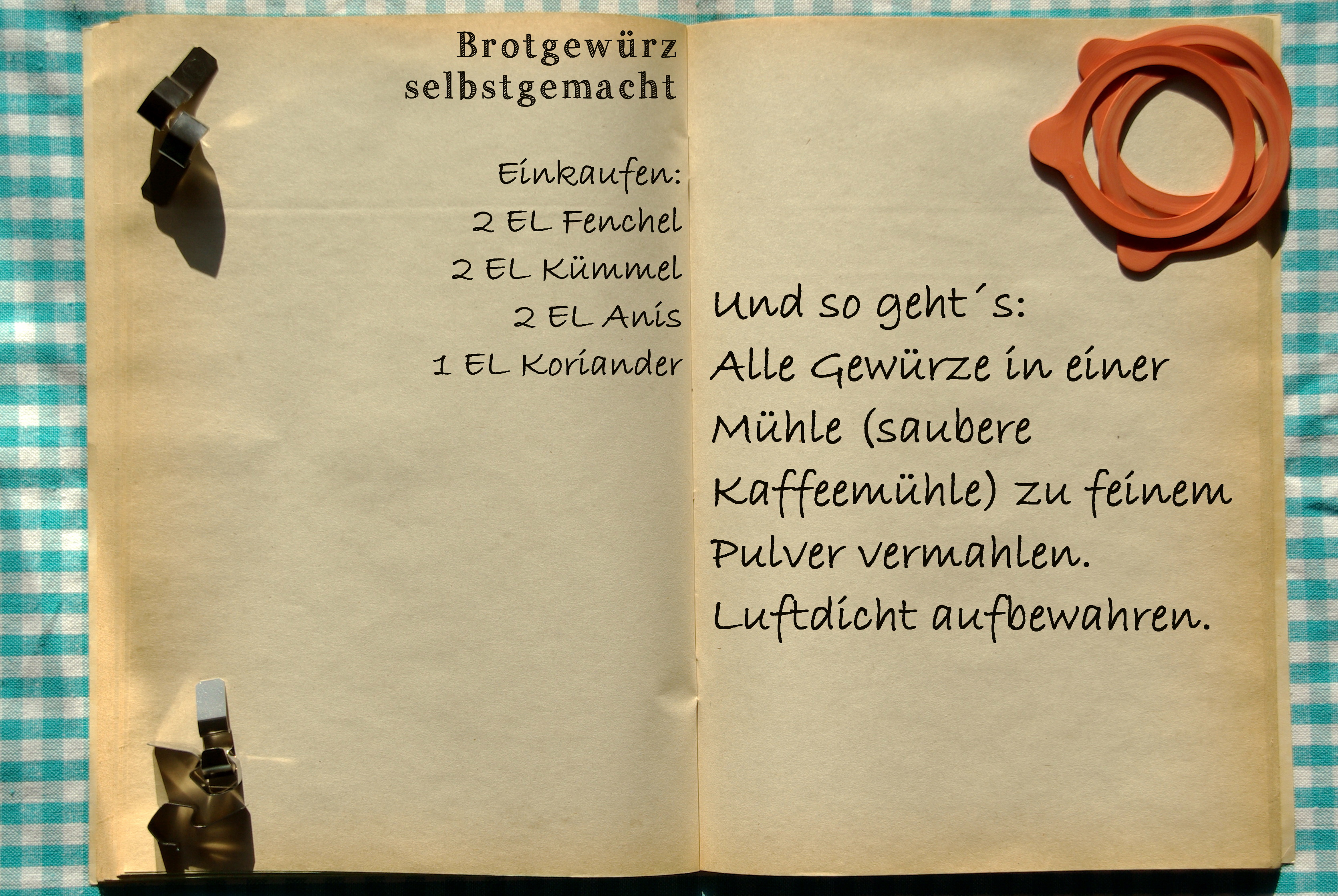 Einkaufszettel Brotgewürz by Glasgefluester
