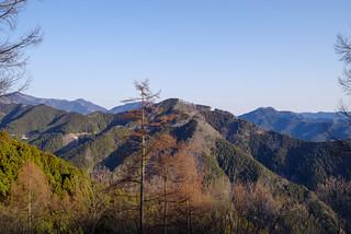 西平山の左奥に伊豆ヶ岳、左奥に武川岳・武甲山