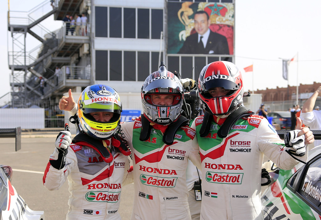 MICHIGAMI Ryo (jpn) Honda Civic team Honda racing team Jas ambiance portrait MICHELISZ Norbert (hun) Honda Civic team Castrol Honda WTC ambiance portrait MONTEIRO Tiago (prt) Honda Civic team Castrol Honda WTC ambiance portrait during the 2017 FIA WTCC World Touring Car Race of Morocco at Marrakech, from April 7 to 9 - Photo Paulo Maria / DPPI