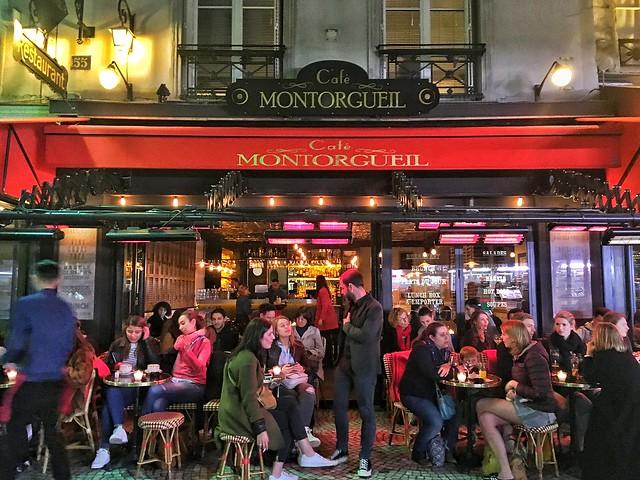 Paris  France ~  Cafe Montorgueil ~ Terrace for People Watch