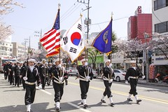 Sailors from Commander participate in the annual Cherry Blossom Festival parade.