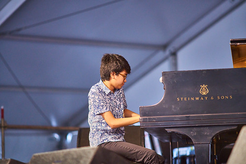 Joey Alexander in the Jazz Tent. April 28 2017 Day 1 of Jazz Fest. Photo by Eli Mergel