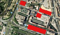 Plano con los futuros edificios de la Ciudad de la Justicia en rojo