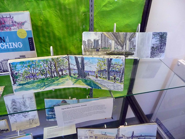 Two of my sketchbooks on display at the Oak Bay Library