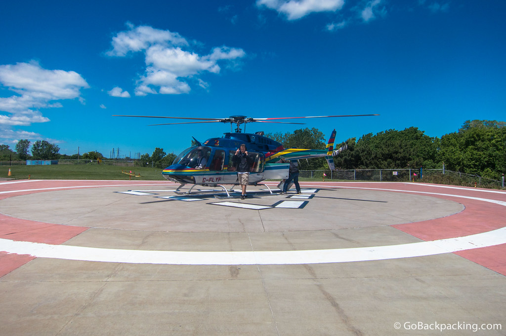 One of the safe and comfortable Bell 407 helicopters used for the 10-minute scenic flights over Niagara Falls