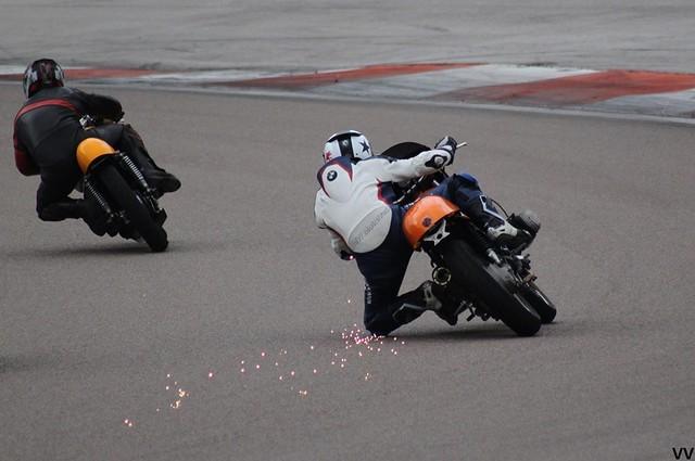"""Sébastien Lorentz, sur une BMW R100 """"Daytona"""" de chez Mombaerts."""