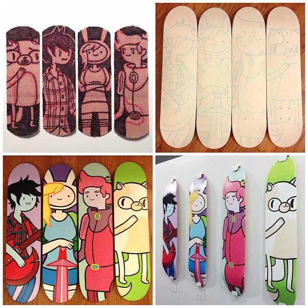 from band-aid doodles to painted skateboards hanging in a gallery #adventuretime #mondotees