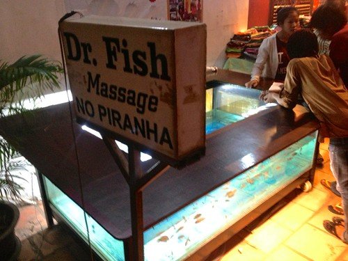 "these ""fish spas"" were all over. the locals called it fish massage, but basically they ate the dead skin from your feet. we didn't try it"