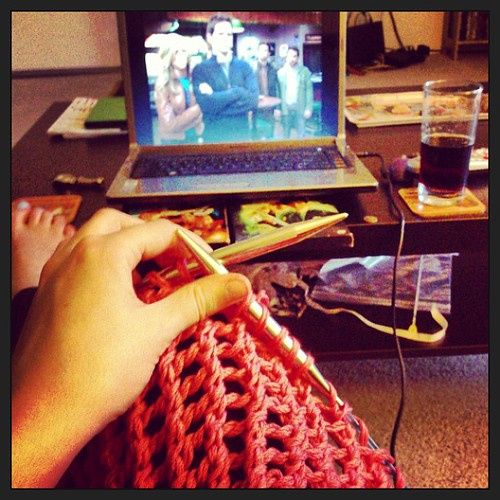 Knitting and marathon-watching It's Always Sunny in Philadelphia