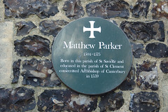Photo of Matthew Parker green plaque