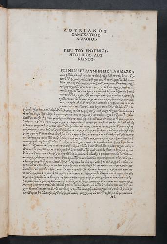 Caption title in Lucianus Samosatensis: Dialogi. Epistolae [Greek]