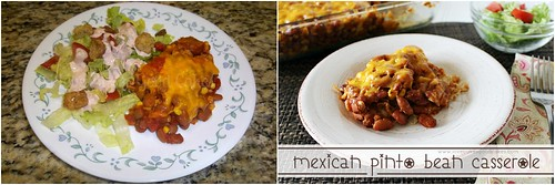 Mexican Pinto Bean Casserole before and after Collage.