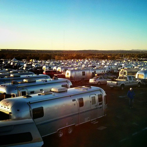 We are here with a couple hundred of the Mish's siblings, cousins, aunts and uncles. #balloonfiesta #abq #airstream
