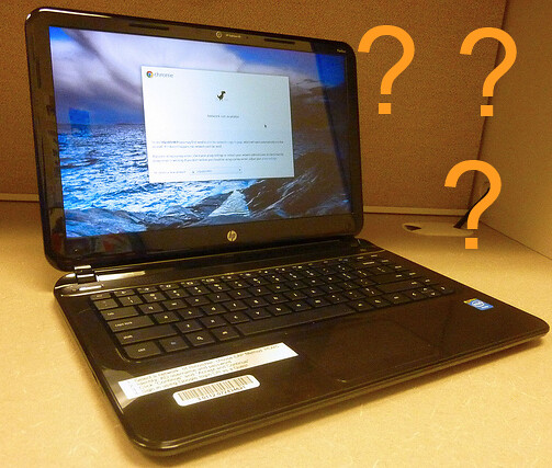 Very clever image of Chromebook with question marks