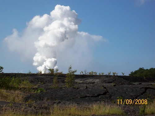 steam plume from lava flow into sea
