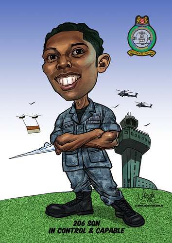 Aaron Philip caricature for Singapore Air Force