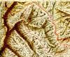Carte extraite du Plan Terrier pour le Haut-Cavu avec les ruisseaux de Carciara, Frassiccia, Bonifacio et Figa