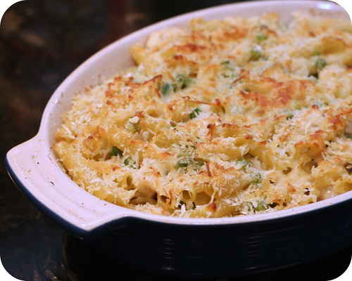 Baked Three Cheese Penne with Chicken and Peas