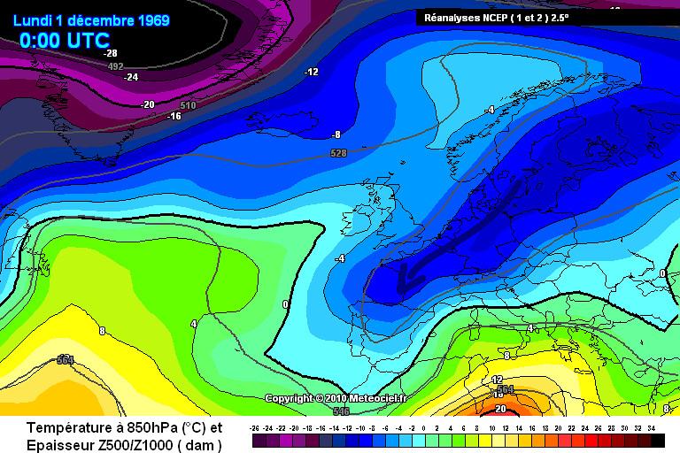 carte de masses d'air lors du record mensuel absolu de froid à Mouthe le 30 novembre 1969 météopassion
