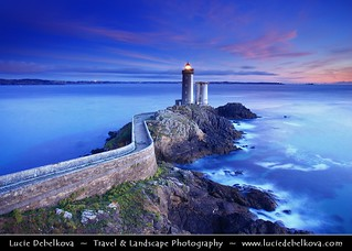France - Bretagne - Brittany - Plouzané - Phare du Petit Minou lighthouse at Dusk - Twilight - Blue Hour