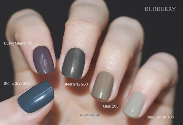 Burberry - Spring/Summer 2014 Runway Nails + Dark Trench 106 + Storm Gray 203 + Steel Gray 200