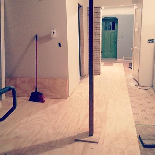 This happened today. #plywoodfloors #industrialcottage #wemadethatup