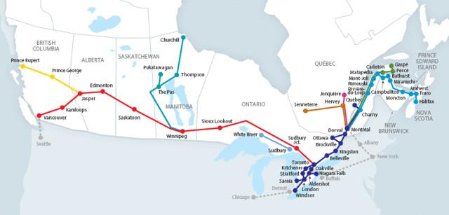 via rail routes