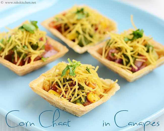 Canapes chaat canape chaat recipe raks kitchen for Vegetarian canape