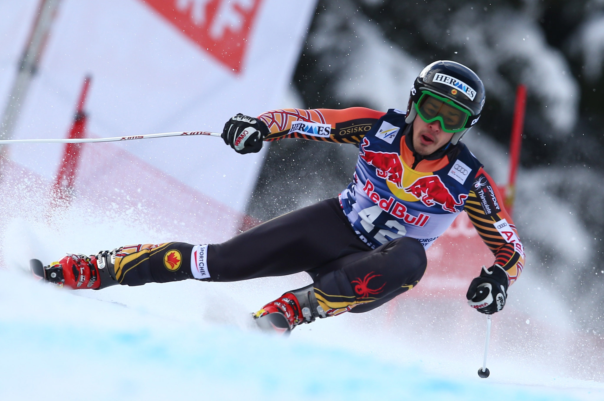 Morgan Pridy in action in the legendary Kitzbuhel downhill.