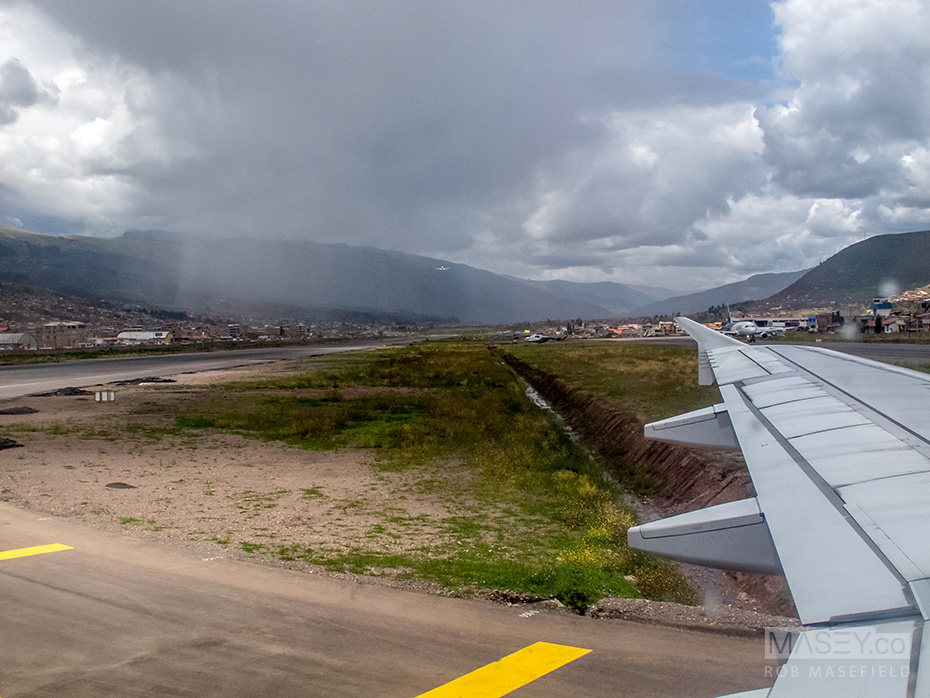 Showers greet us on arrival in Cuzco.