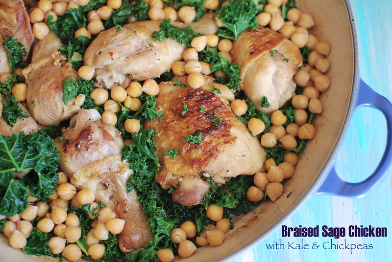 Braised Sage Chicken with Kale & Chickpeas