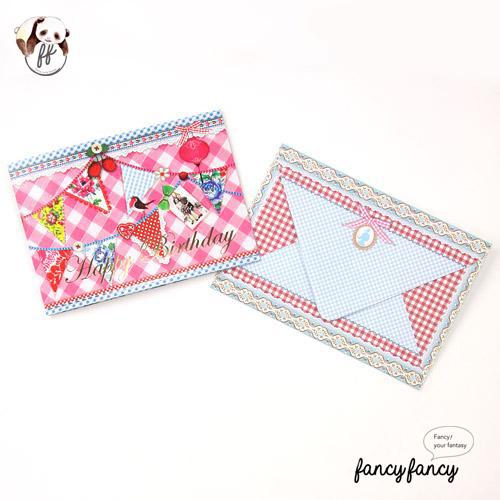 46.荷蘭製歡樂童話生日卡含信封(一份六組)-粉紅色