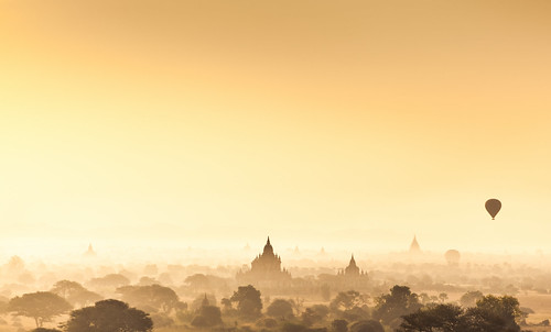 Myanmar (Burma) -  Misty Bagan silhouettes at dawn